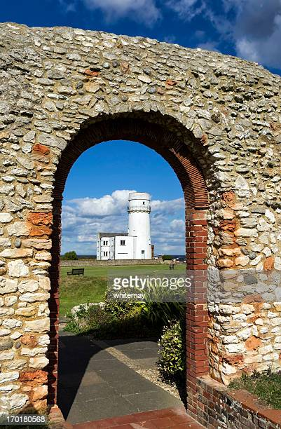 Old Hunstanton lighthouse through St Edmund's Chapel ruins