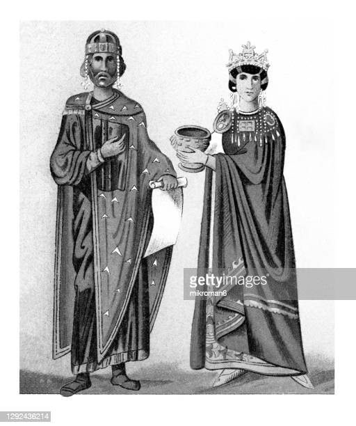 old illustration of byzantine kaiser und kaiserin (10th century) - king royal person stock pictures, royalty-free photos & images
