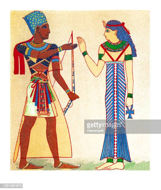 old illustration of egyptian king and queen - pharaoh stock pictures, royalty-free photos & images