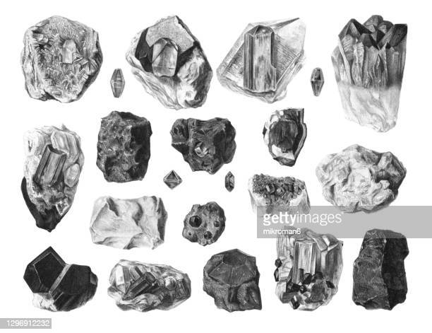 old illustration of gemstones, precious stones, noble stones - rock stock pictures, royalty-free photos & images