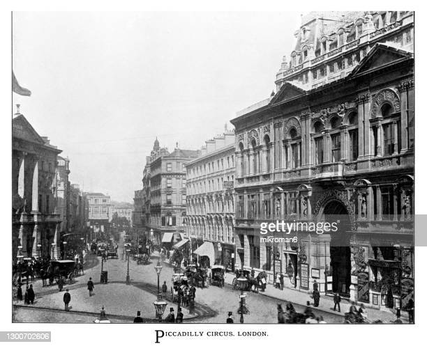 old illustration of piccadilly circus, london, england - 1900 stock pictures, royalty-free photos & images