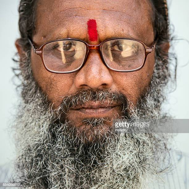 old indian man portrait - hairy old man stock pictures, royalty-free photos & images