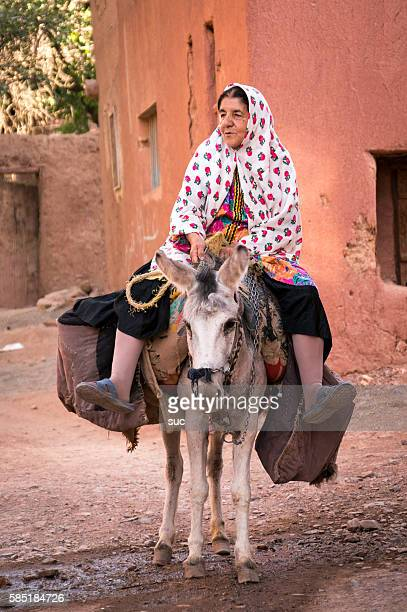 Old Iranian woman is carrying heavy bags on a donkey.