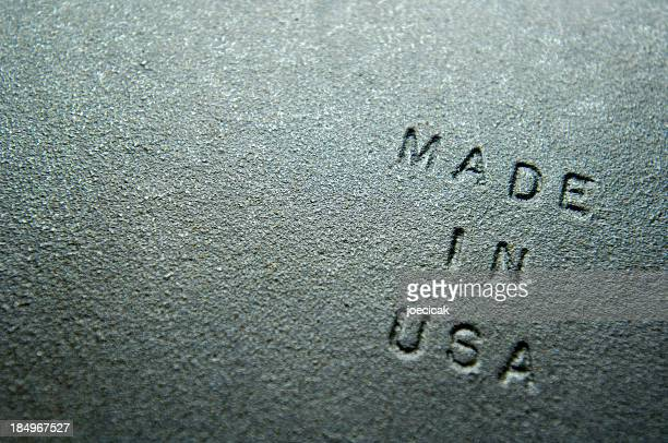 "Old Iron Plate Embossed With ""MADE IN USA"""