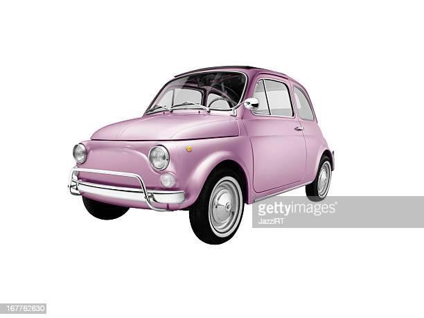 Alte italienische Rosa Auto (isoliert mit clipping path weißem Hintergrund