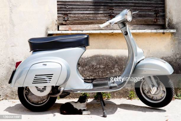 old italian scooter - vespa brand name stock pictures, royalty-free photos & images