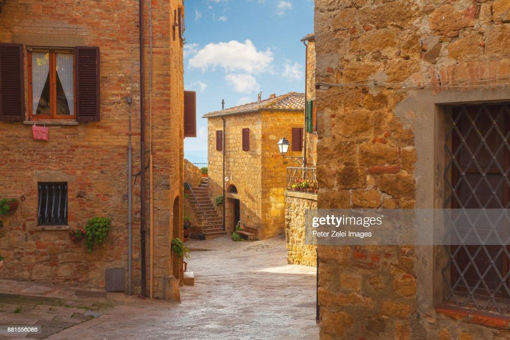 Old italian town, Monticchiello in Tuscany, Italy : Stock Photo