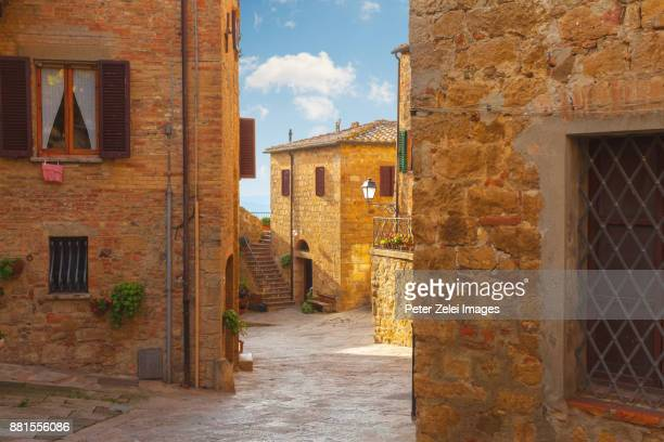 old italian town, monticchiello in tuscany, italy - siena italy stock photos and pictures