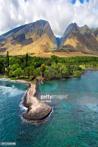 old jetty at olowalu - island of maui, hawaii - lahaina stock pictures, royalty-free photos & images