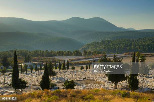 old jewish cemetery of safed - safed stock photos and pictures