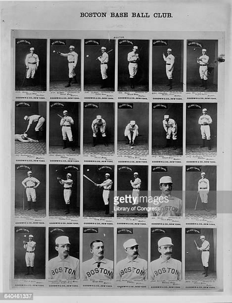 Old Judge Cigarette baseball cards featuring the 1887 Boston Beaneaters