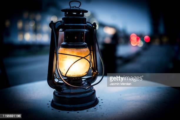 old kerosene lamp on street - ランタン ストックフォトと画像