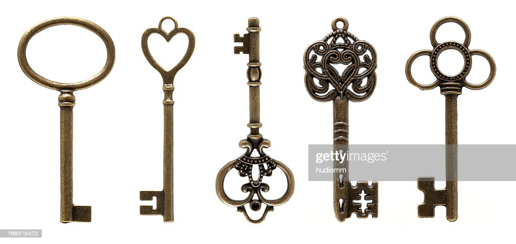 Old Keys (clipping path all) isolated on white background : Stock Photo