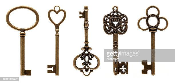 old keys (clipping path all) isolated on white background - antique stock pictures, royalty-free photos & images