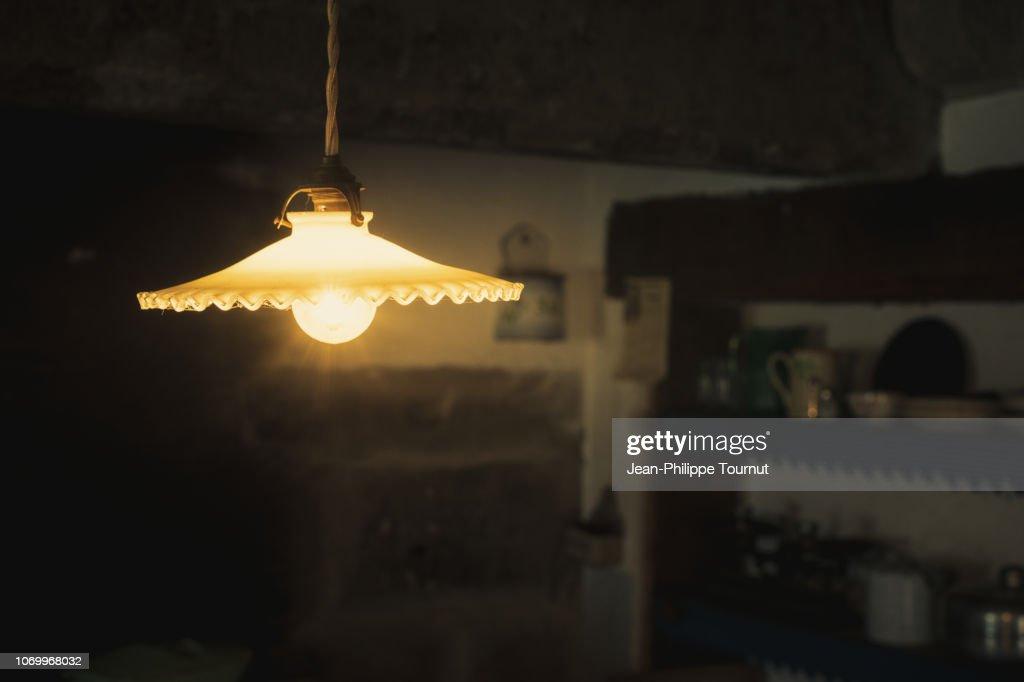 Old Kitchen Lamp, France : Stock Photo