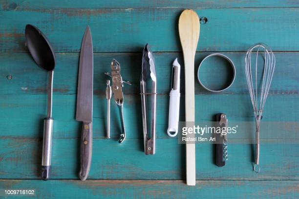 old kitchen utensils collection - rafael ben ari stock pictures, royalty-free photos & images