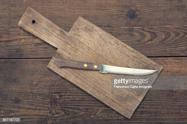 old kitchen utensils - kitchen knife stock photos and pictures