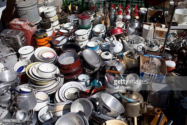 Old kitchenware for sale in a flea market on October 03 2013 in Jaffa a suburb of Tel Aviv Israel
