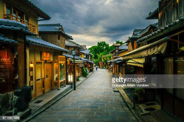 old kyoto street - kyoto prefecture stock pictures, royalty-free photos & images