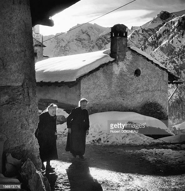 Old ladies of Saint-Veran, 1947 in Saint Veran, France.