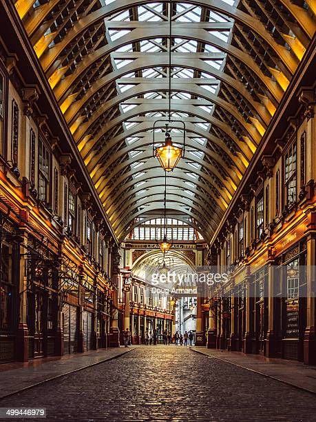 old leadenhall market, london - leadenhall market stock photos and pictures
