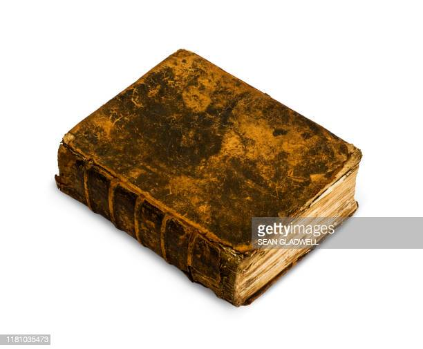 old leather bound book - old book stock photos and pictures