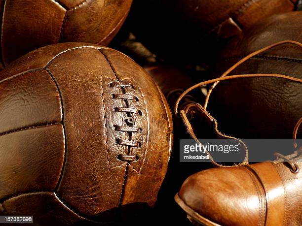 old leather soccer balls and boots - leather boot stock pictures, royalty-free photos & images