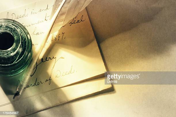 old letter - quill pen stock photos and pictures