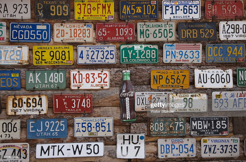 Old License Plates Hole In The Rock Tourist Shop Moab Utah Usa Stock ...