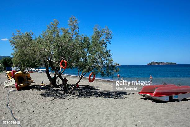 JULY Old life preservers hang from a tree as tourists enjoy the water on an almost empty beach in Petra town on July 20 2016 on Lesvos island Greece...