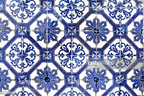 old lisbon tiles , azulejos - ceramic stock photos and pictures