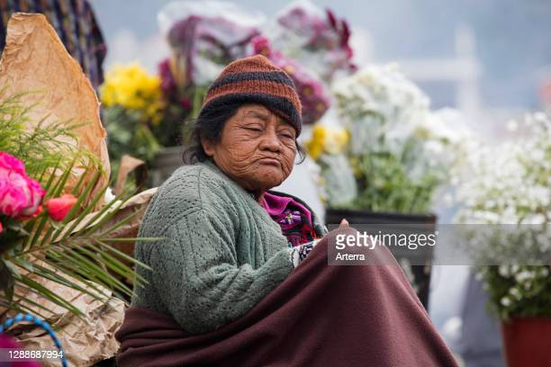Old local Mayan K'iche woman selling flowers on market day in the town Chichicastenango, El Quiche, Guatemala, Central America.