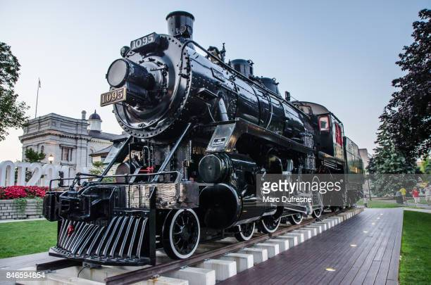 old locomotive downtown kingston ontario during summer day - kingston ontario stock photos and pictures