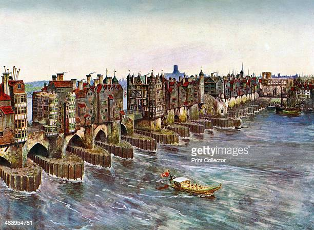 'Old London Bridge about 1630' A print after a model constructed by John B Thorpe from Art History and Literature Illustrations by Jessie Noakes...