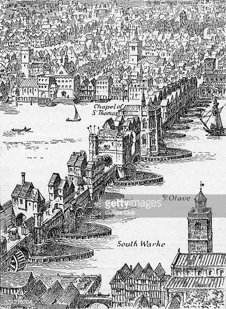 Old London Bridge Elizabethan drawing