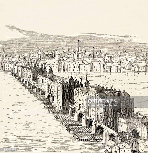 Old London Bridge London England Before The Great Fire Of 1666 From The Book Of Martyrs By John Foxe Published C1865
