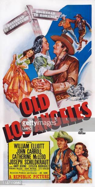 Old Los Angeles poster US poster art top from left Estelita Rodriguez John Carroll bottom from left Bill Elliott Catherine McLeod 1948