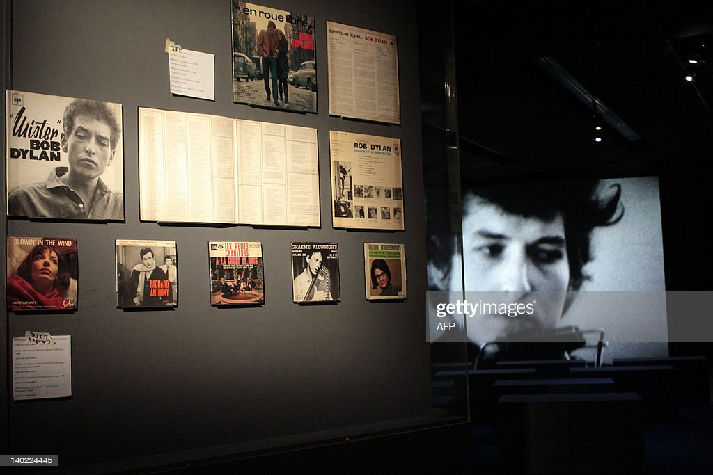 Old LPs (vinyls discs) of US singer and songwriter Bob Dylan are displayed on March 1, 2012 at the Cite de la Musique (City of Music) during a exhibition recounted five decisive years in the carreer of Bob Dylan between 1961 and 1966. The exhibition runs from March 6, until July 15, 2012.
