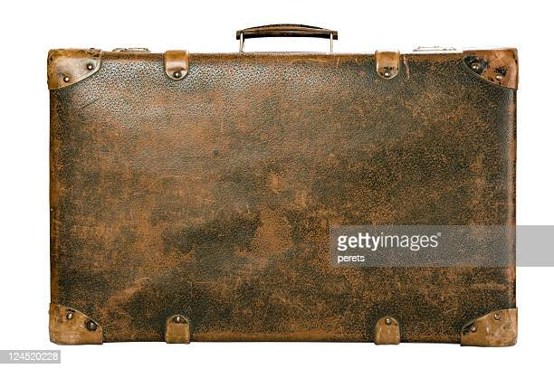 Old luggage trunk on a white background