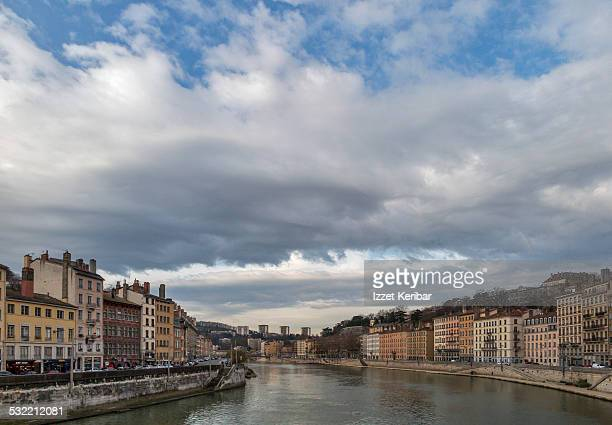 Old Lyon and Saone river from St Paul, France