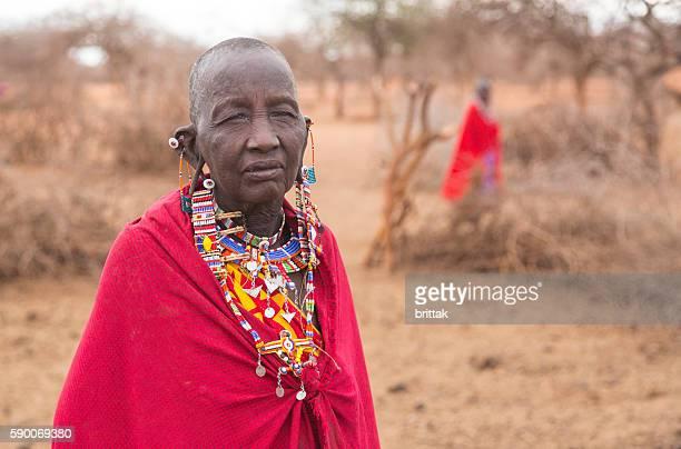 Old Maasai woman with traditional jewelry. Selenkay, Kenya.