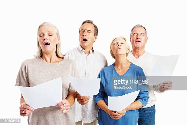 old males and females choir against white - choir stock photos and pictures