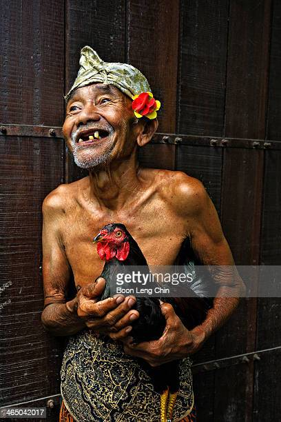 Old Man and his Fighting Cock. Kept as a pet, as Cock fighting is deemed illegal now in Bali.