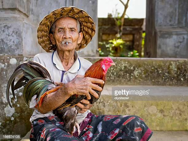 Old Man and his Prized Fighting Rooster