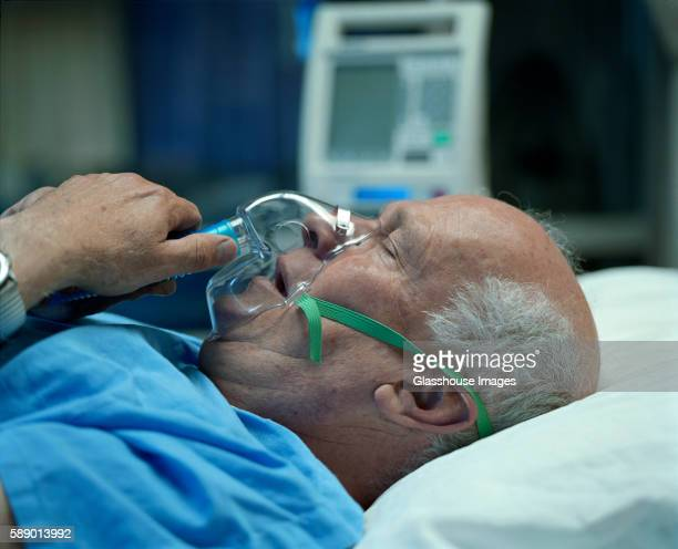 Old Man and Oxygen Mask