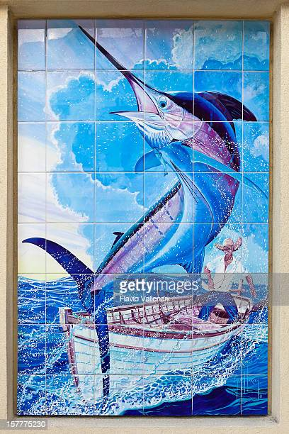 old man and the sea, grand cayman - marlin stock photos and pictures
