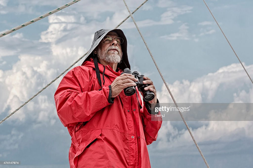 Old Man and the Sea Looking Out : Stock Photo