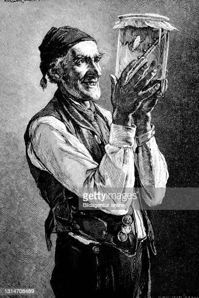 Old man holding a glass with a weatherman and predicting good weather, Germany, 1887 / Alter Mann hält ein Glas mit einem Wetterfrosch und prophezeit...