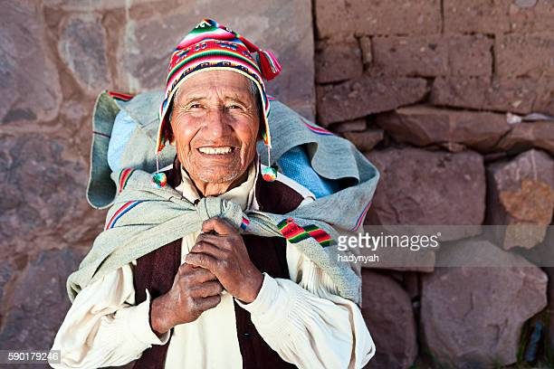 Old man in national clothing on Taquile Island, Peru