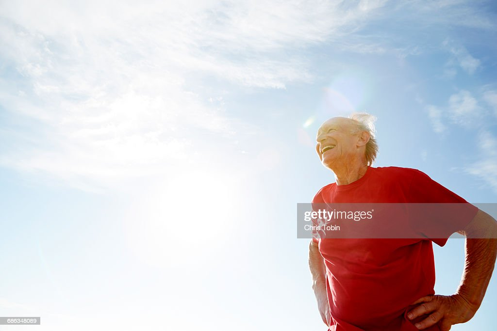 Old man laughing : Stock Photo
